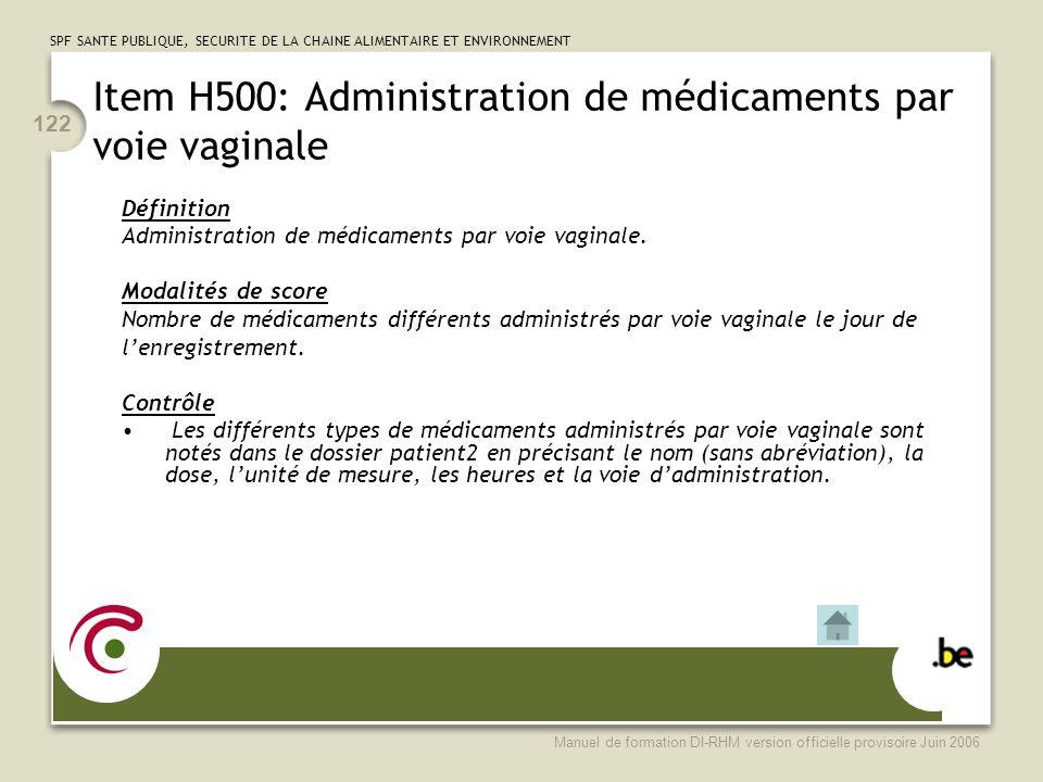 Item H500: Administration de médicaments par voie vaginale