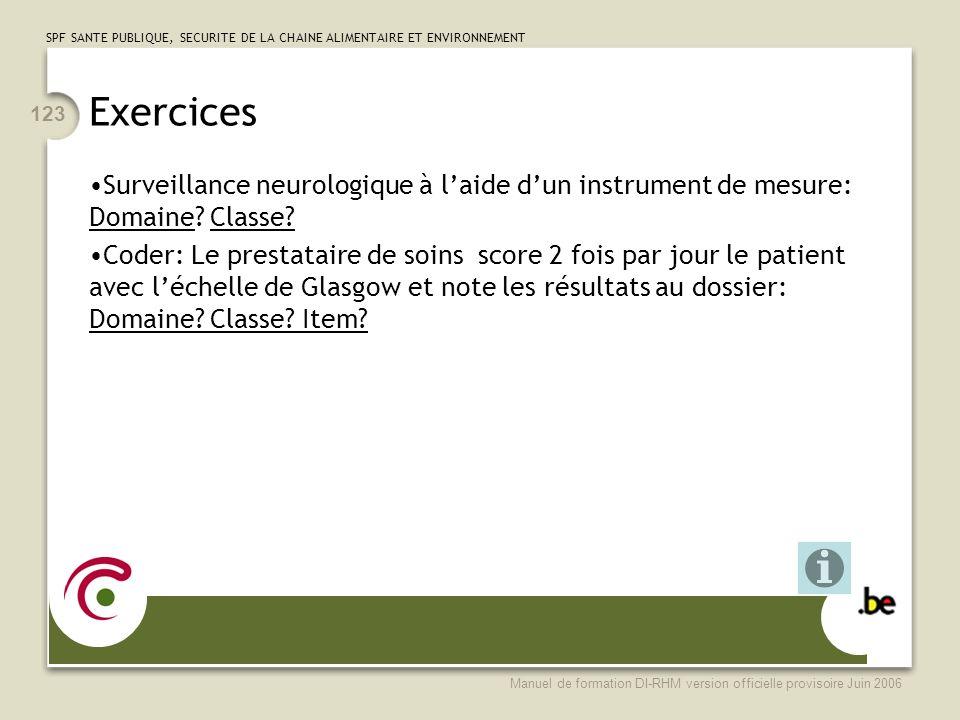 Exercices Surveillance neurologique à l'aide d'un instrument de mesure: Domaine Classe