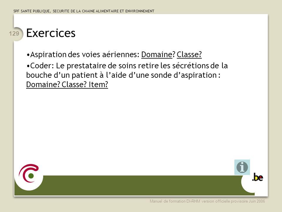 Exercices Aspiration des voies aériennes: Domaine Classe