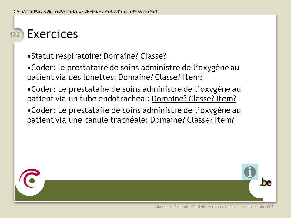Exercices Statut respiratoire: Domaine Classe