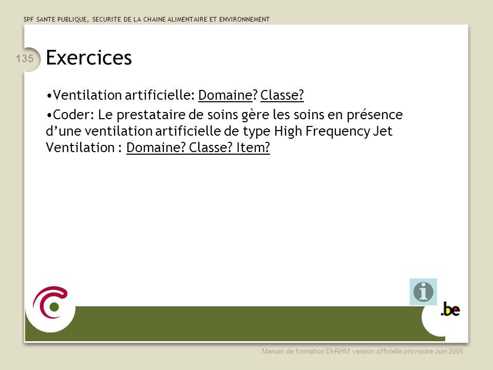 Exercices Ventilation artificielle: Domaine Classe