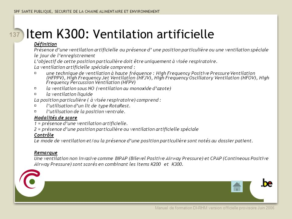 Item K300: Ventilation artificielle