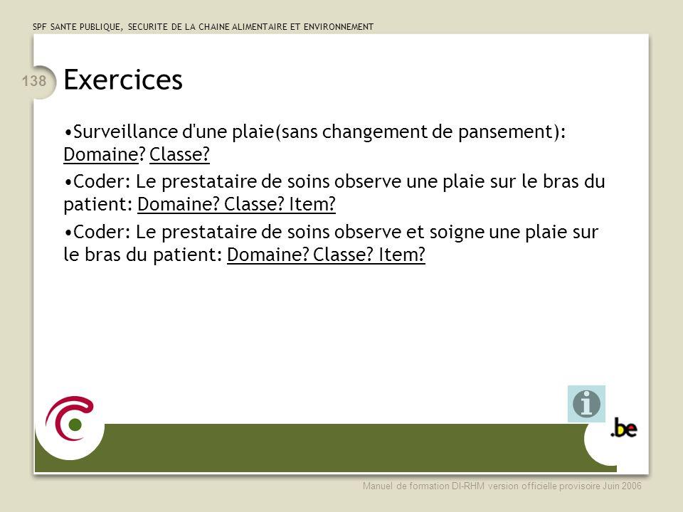 Exercices Surveillance d une plaie(sans changement de pansement): Domaine Classe