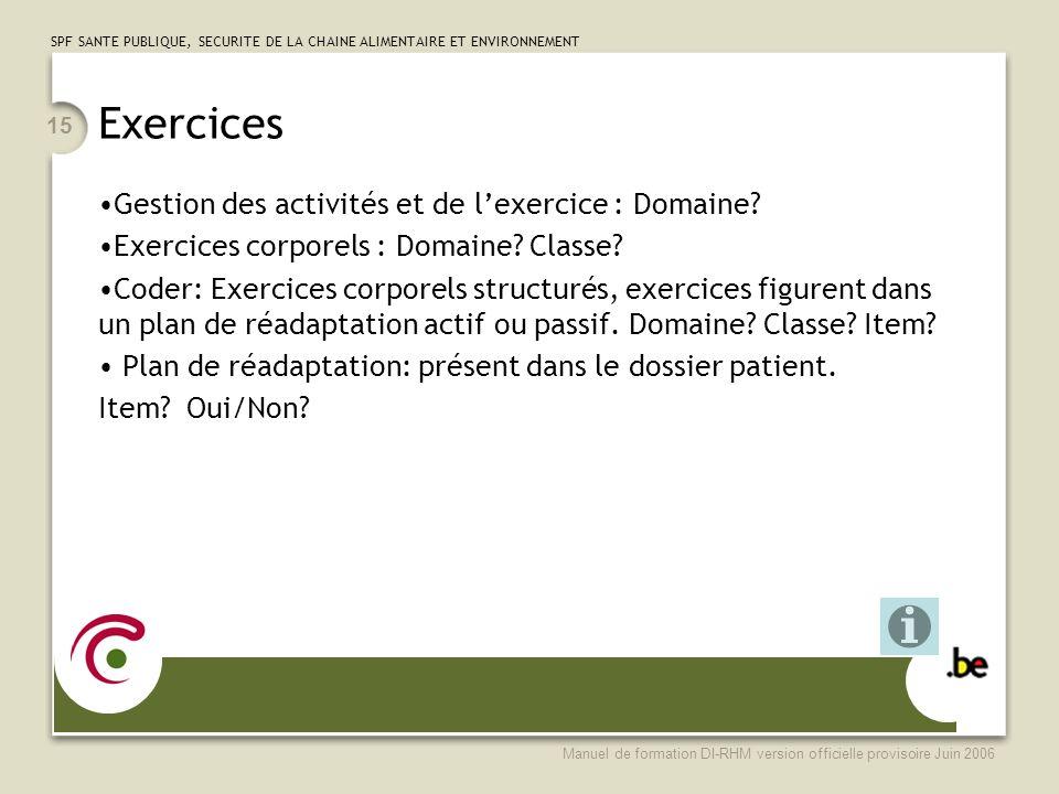 Exercices Gestion des activités et de l'exercice : Domaine