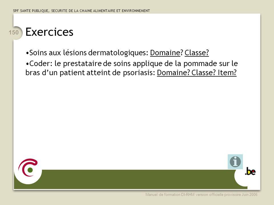 Exercices Soins aux lésions dermatologiques: Domaine Classe