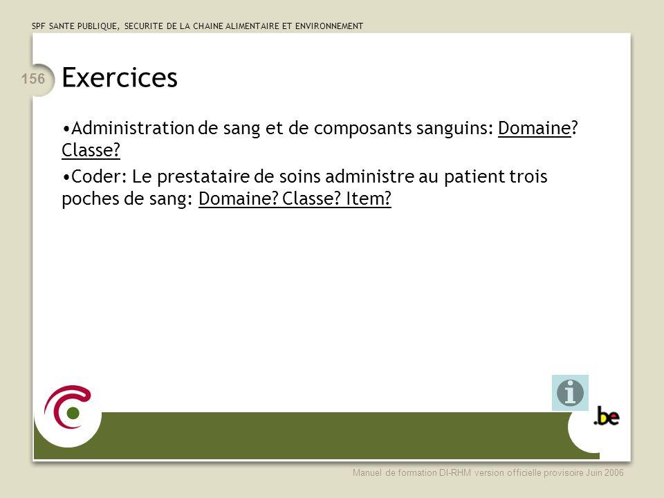 Exercices Administration de sang et de composants sanguins: Domaine Classe