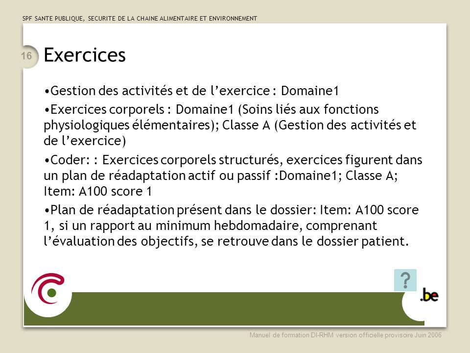Exercices Gestion des activités et de l'exercice : Domaine1