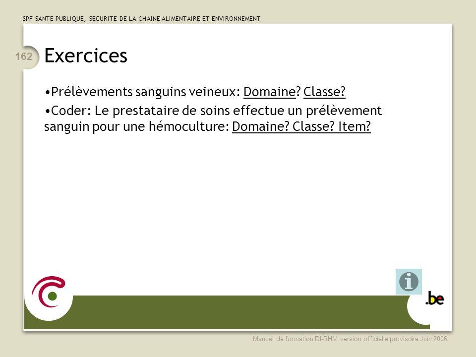 Exercices Prélèvements sanguins veineux: Domaine Classe