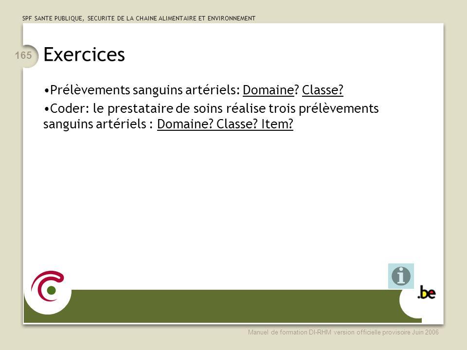 Exercices Prélèvements sanguins artériels: Domaine Classe