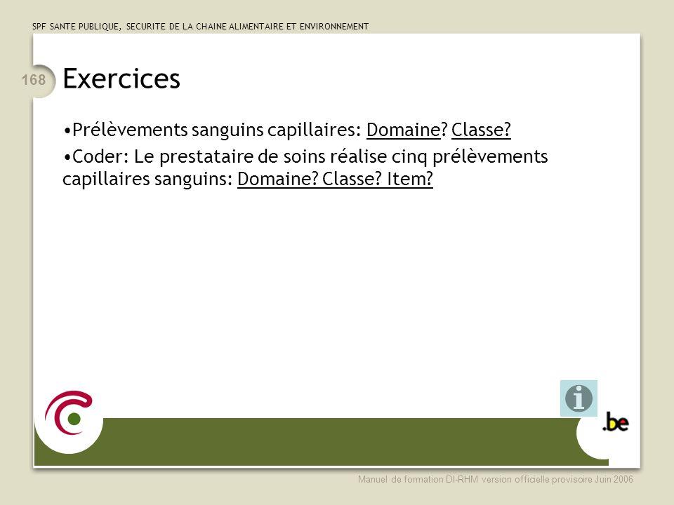 Exercices Prélèvements sanguins capillaires: Domaine Classe