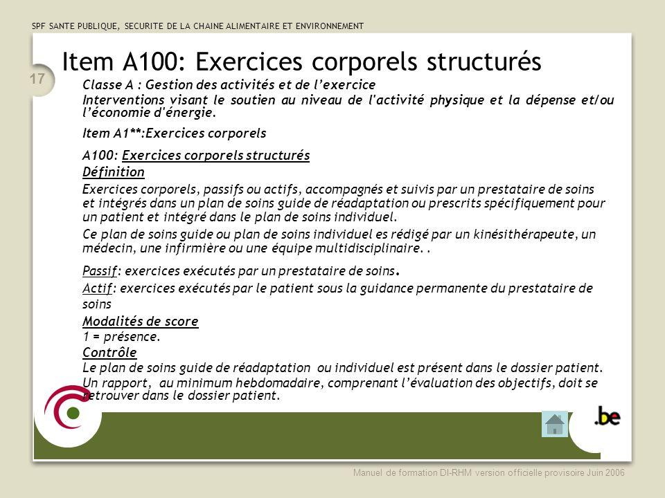 Item A100: Exercices corporels structurés