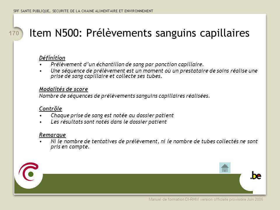 Item N500: Prélèvements sanguins capillaires