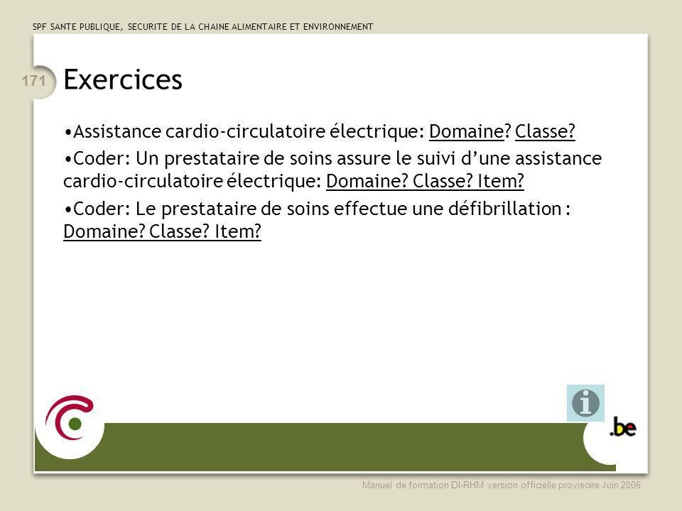 Exercices Assistance cardio-circulatoire électrique: Domaine Classe