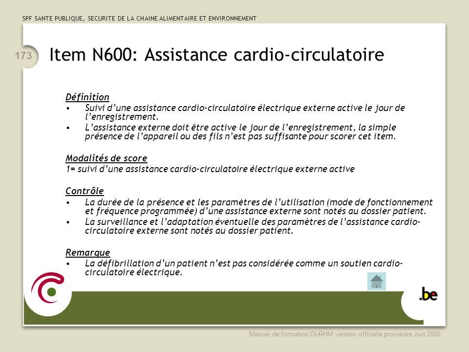 Item N600: Assistance cardio-circulatoire