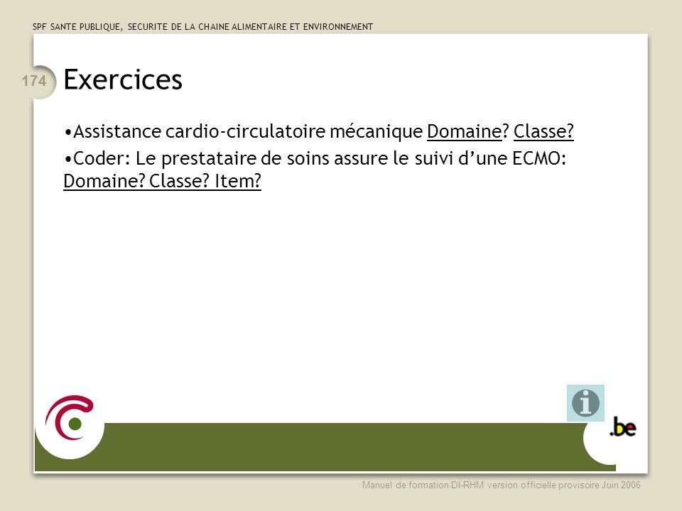 Exercices Assistance cardio-circulatoire mécanique Domaine Classe