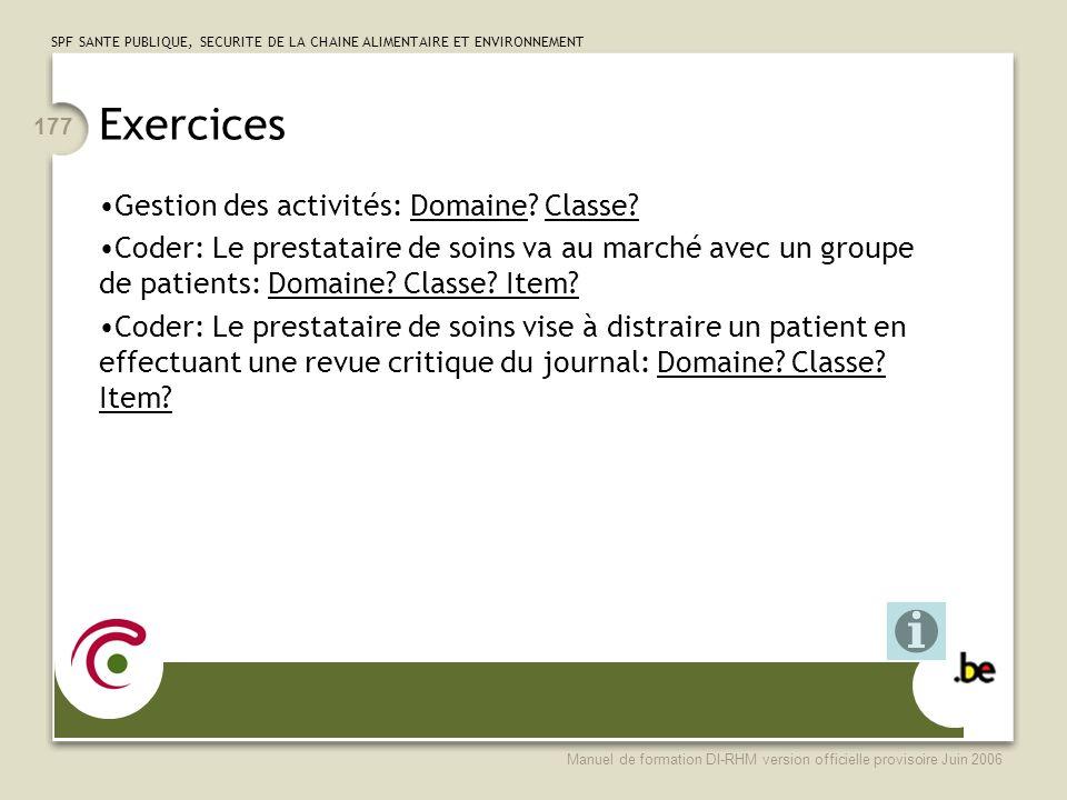 Exercices Gestion des activités: Domaine Classe