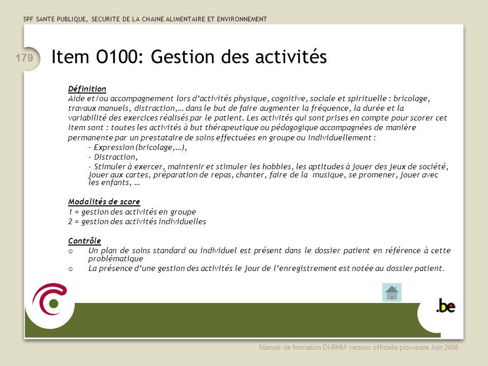 Item O100: Gestion des activités