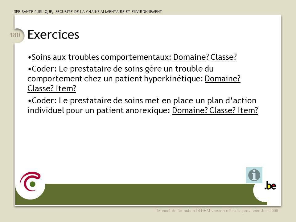 Exercices Soins aux troubles comportementaux: Domaine Classe