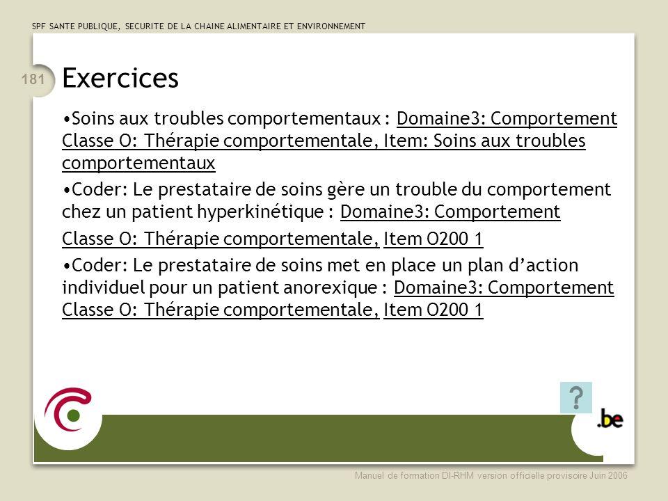 Exercices Soins aux troubles comportementaux : Domaine3: Comportement Classe O: Thérapie comportementale, Item: Soins aux troubles comportementaux.