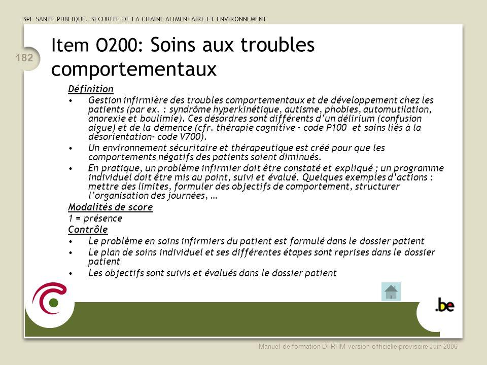 Item O200: Soins aux troubles comportementaux