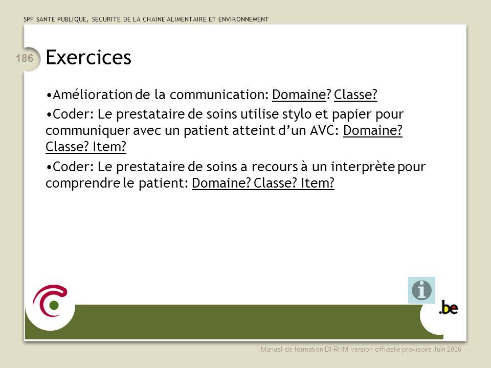Exercices Amélioration de la communication: Domaine Classe