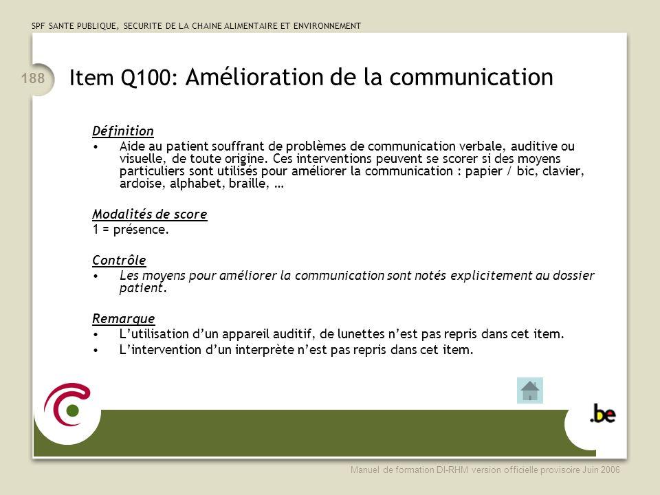 Item Q100: Amélioration de la communication