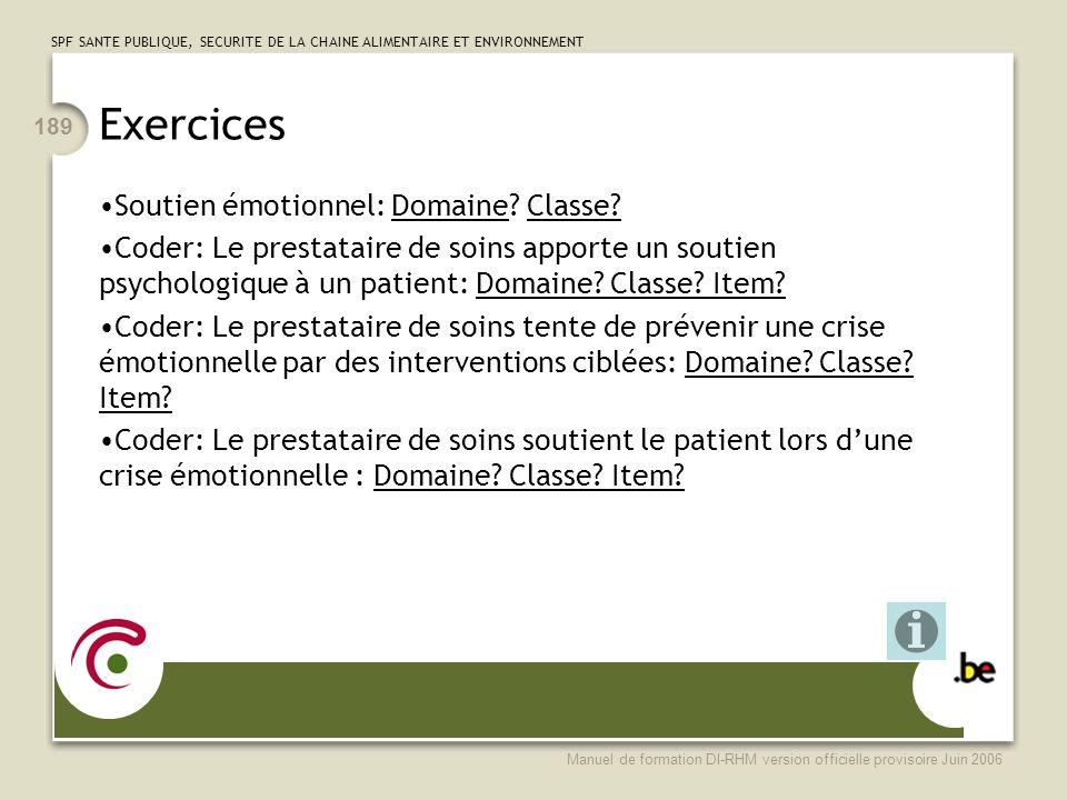 Exercices Soutien émotionnel: Domaine Classe