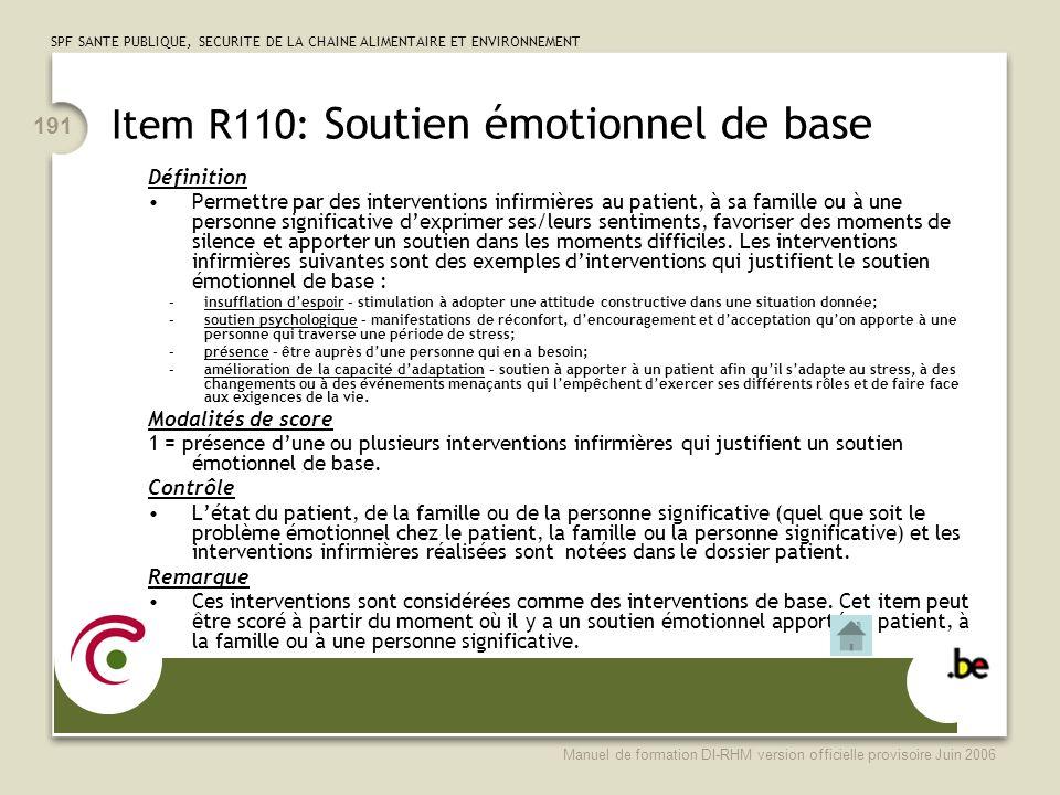 Item R110: Soutien émotionnel de base