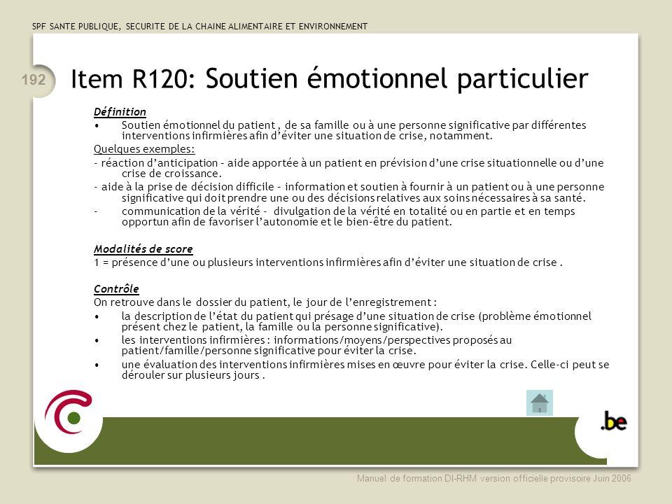Item R120: Soutien émotionnel particulier