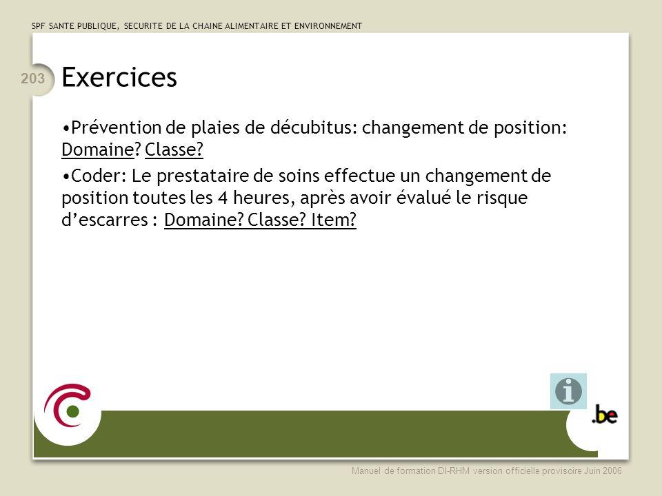 Exercices Prévention de plaies de décubitus: changement de position: Domaine Classe