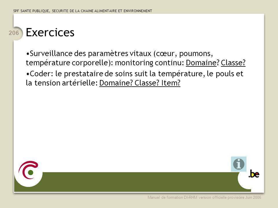 Exercices Surveillance des paramètres vitaux (cœur, poumons, température corporelle): monitoring continu: Domaine Classe