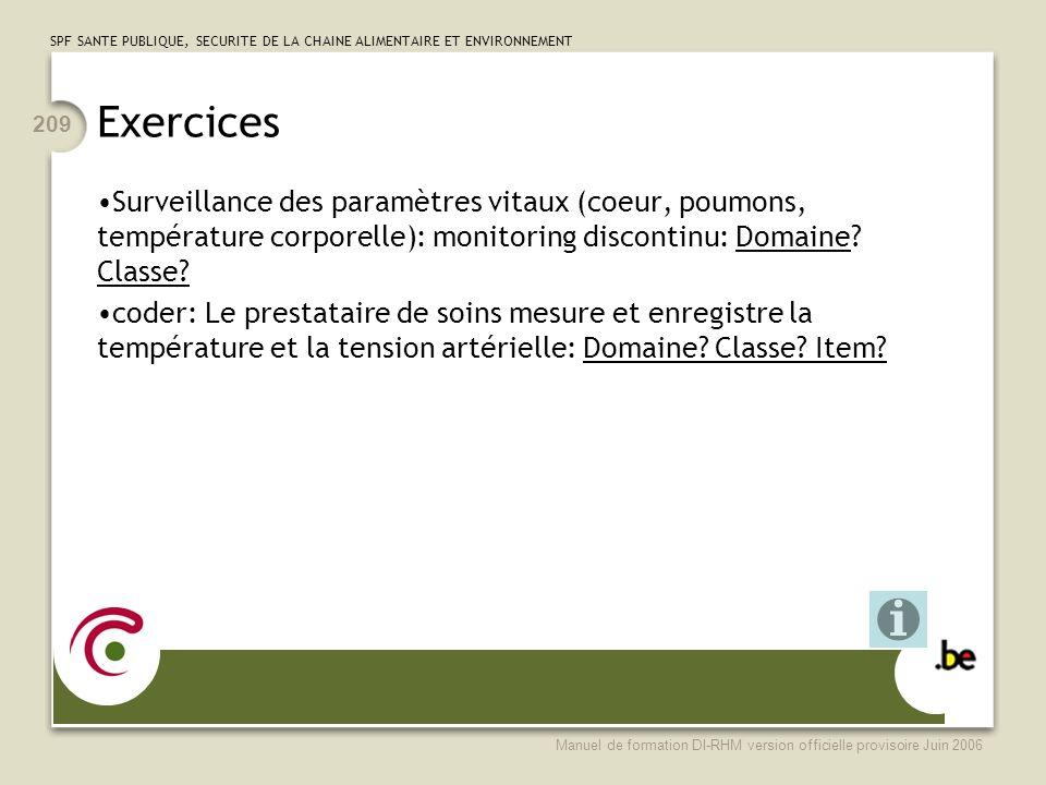 Exercices Surveillance des paramètres vitaux (coeur, poumons, température corporelle): monitoring discontinu: Domaine Classe
