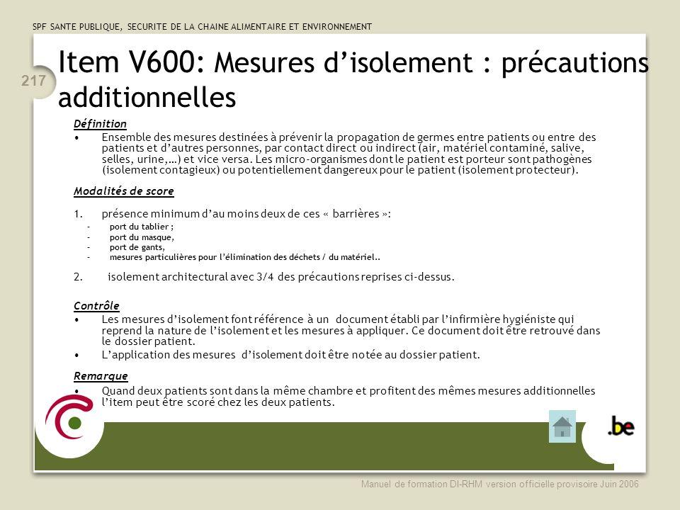 Item V600: Mesures d'isolement : précautions additionnelles