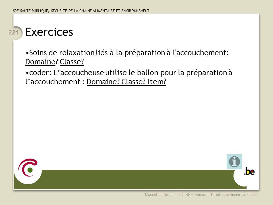 Exercices Soins de relaxation liés à la préparation à l accouchement: Domaine Classe