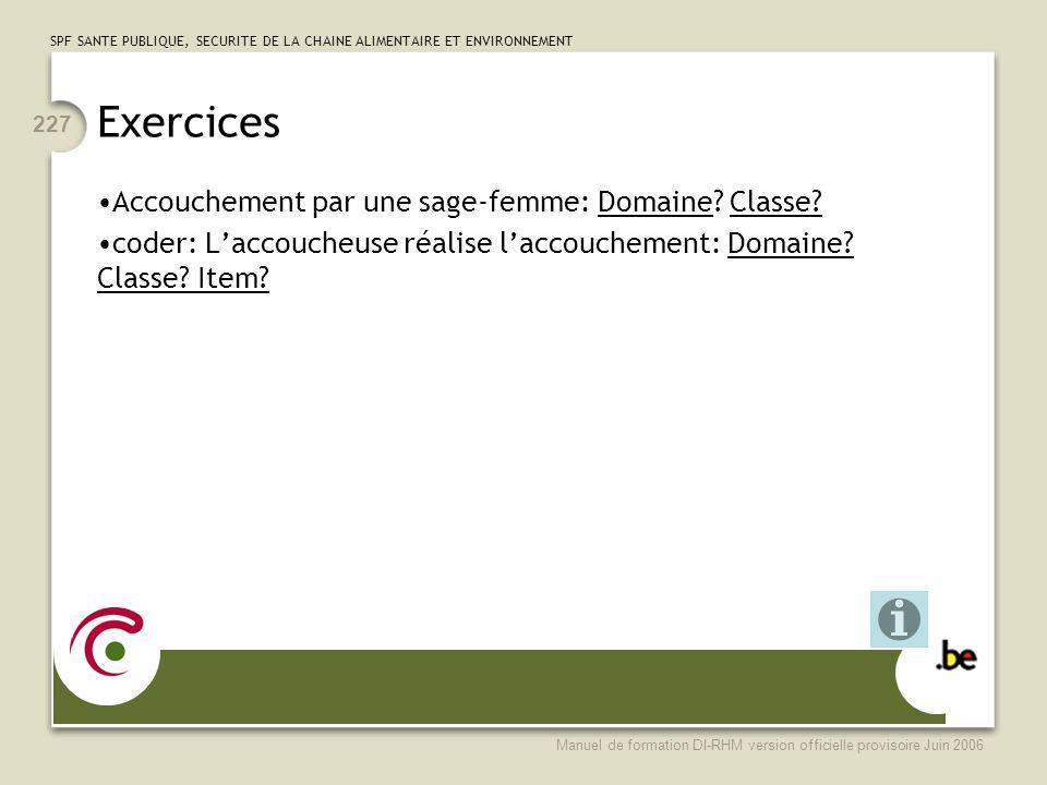 Exercices Accouchement par une sage-femme: Domaine Classe
