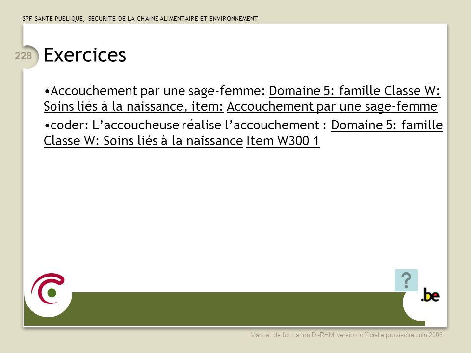 Exercices Accouchement par une sage-femme: Domaine 5: famille Classe W: Soins liés à la naissance, item: Accouchement par une sage-femme.