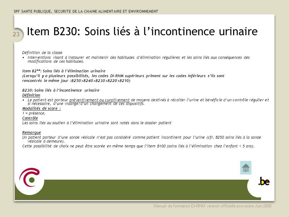 Item B230: Soins liés à l'incontinence urinaire