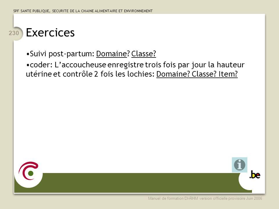 Exercices Suivi post-partum: Domaine Classe