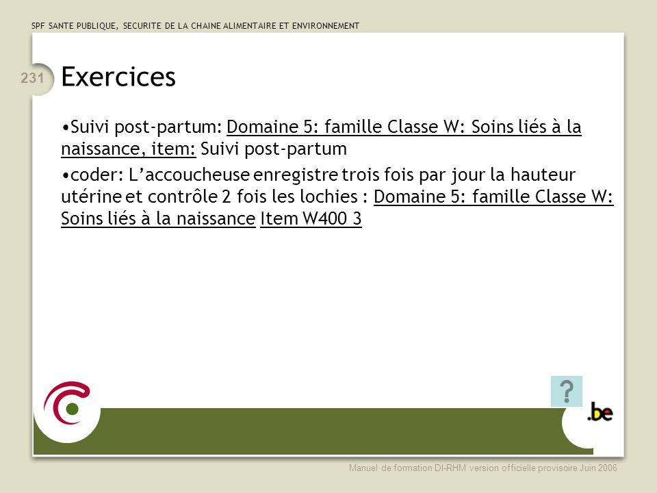 Exercices Suivi post-partum: Domaine 5: famille Classe W: Soins liés à la naissance, item: Suivi post-partum.
