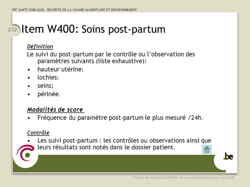 Item W400: Soins post-partum