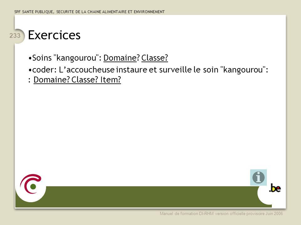Exercices Soins kangourou : Domaine Classe