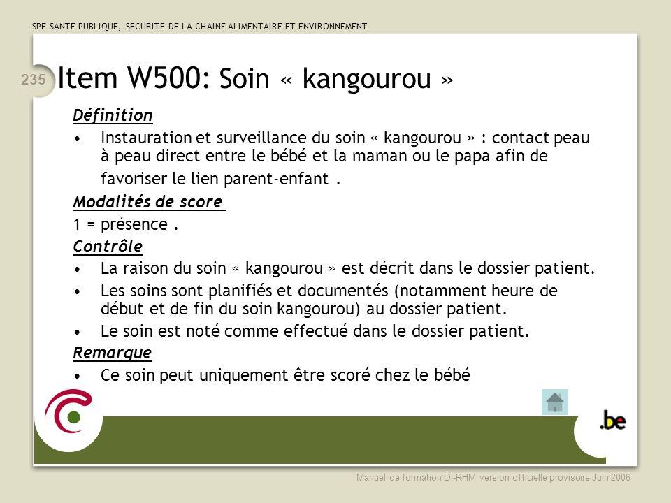 Item W500: Soin « kangourou »