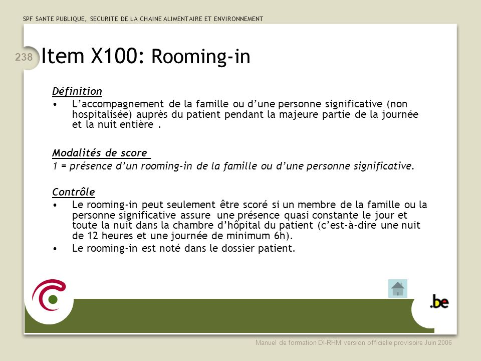 Item X100: Rooming-in Définition
