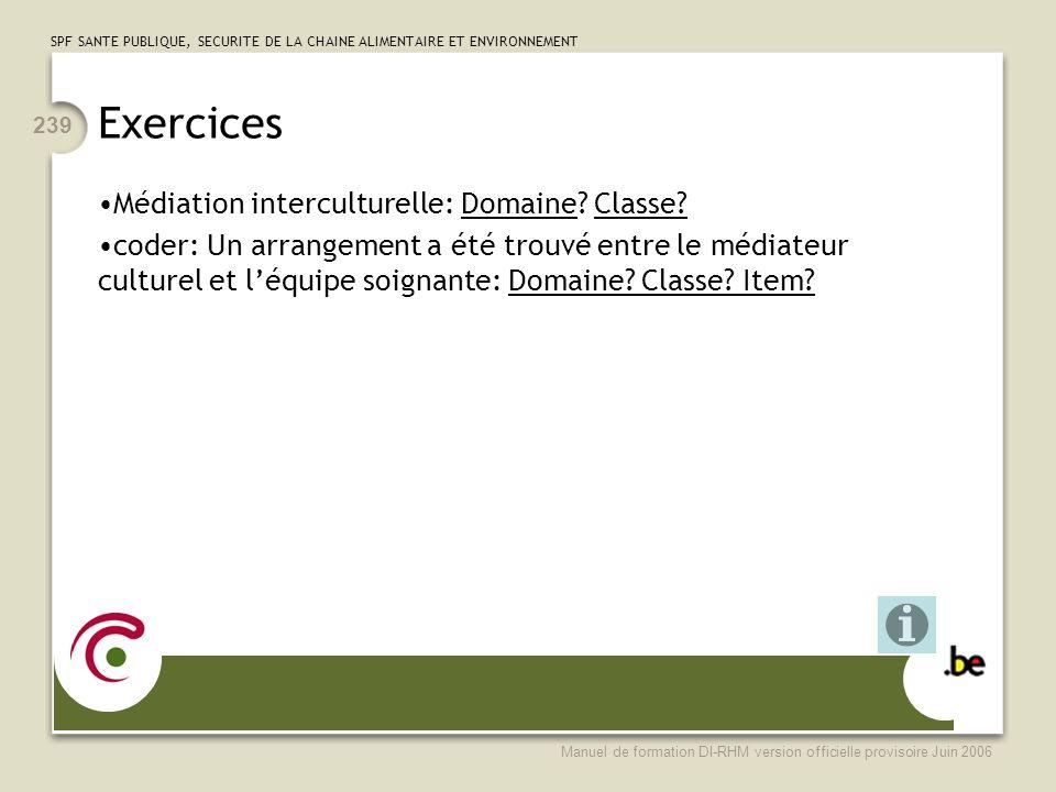 Exercices Médiation interculturelle: Domaine Classe