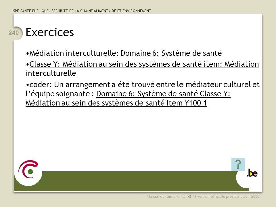 Exercices Médiation interculturelle: Domaine 6: Système de santé