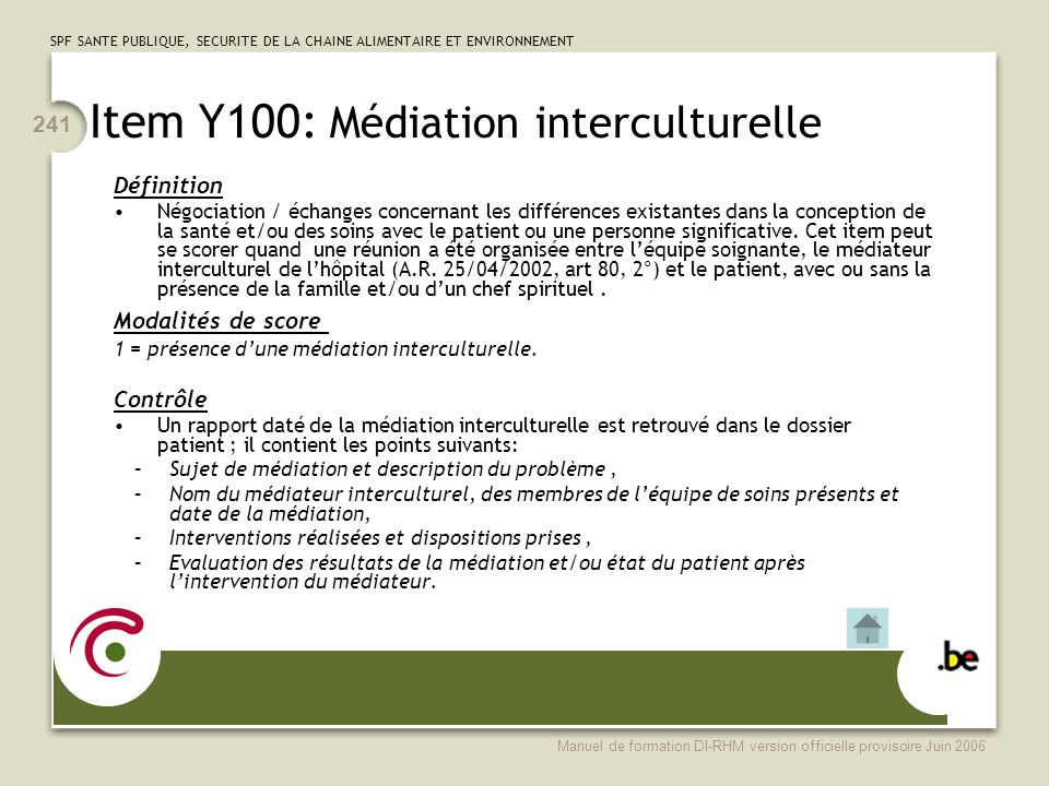 Item Y100: Médiation interculturelle