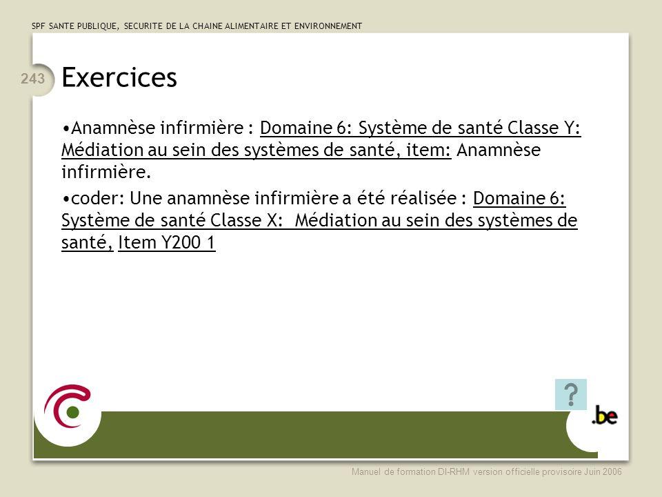 Exercices Anamnèse infirmière : Domaine 6: Système de santé Classe Y: Médiation au sein des systèmes de santé, item: Anamnèse infirmière.