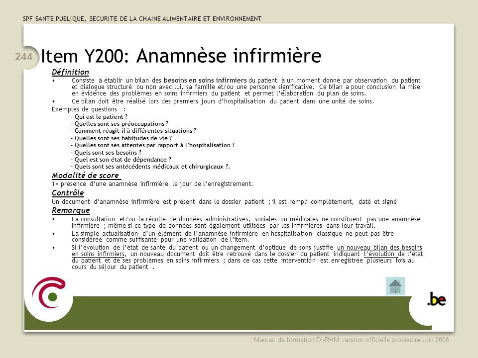 Item Y200: Anamnèse infirmière