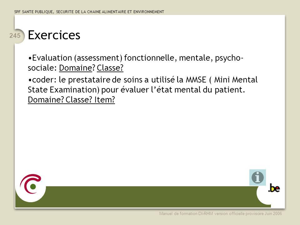 Exercices Evaluation (assessment) fonctionnelle, mentale, psycho-sociale: Domaine Classe
