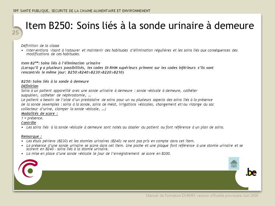 Item B250: Soins liés à la sonde urinaire à demeure